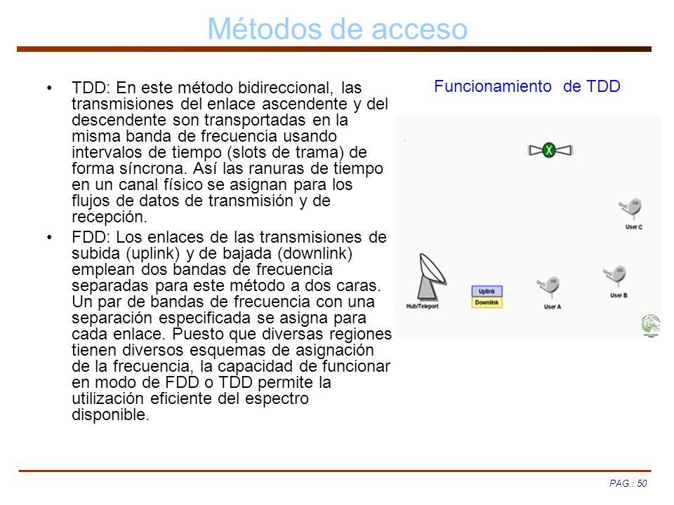 PAG.: 50 Métodos de acceso TDD: En este método bidireccional, las transmisiones del enlace ascendente y del descendente son transportadas en la misma