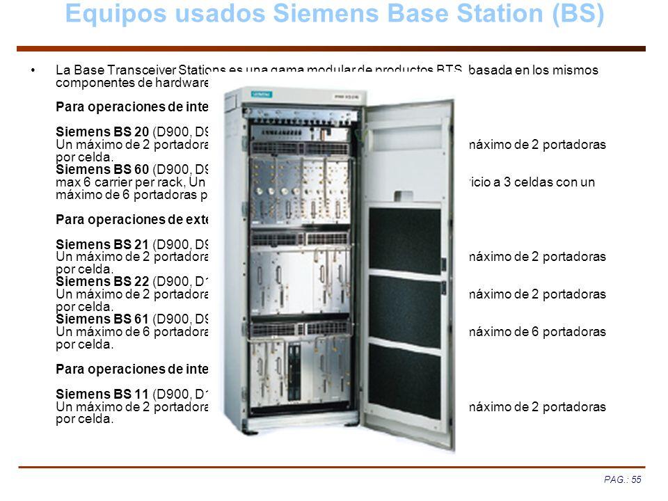 PAG.: 55 Equipos usados Siemens Base Station (BS) La Base Transceiver Stations es una gama modular de productos BTS, basada en los mismos componentes