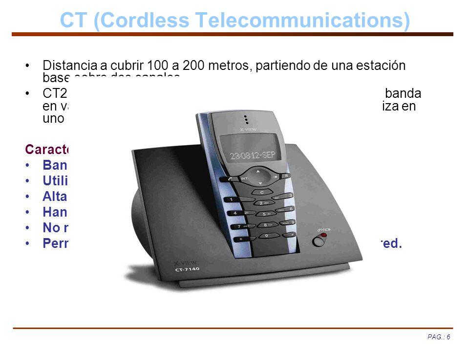 PAG.: 6 CT (Cordless Telecommunications) Distancia a cubrir 100 a 200 metros, partiendo de una estación base sobre dos canales. CT2 versión mejorada u