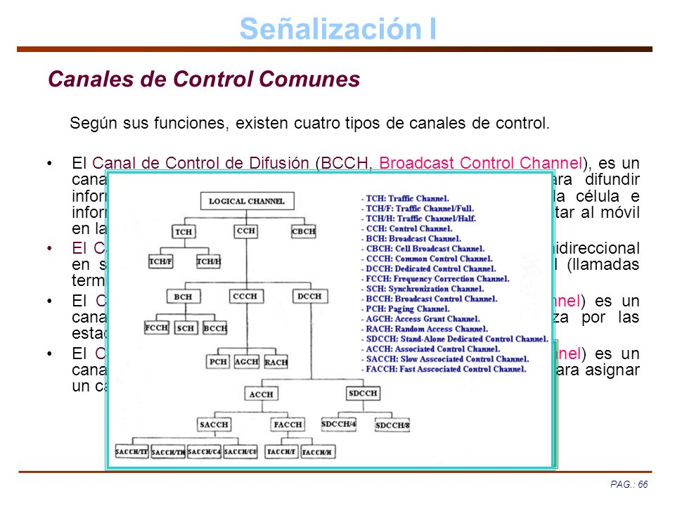 PAG.: 66 Señalización I Canales de Control Comunes Según sus funciones, existen cuatro tipos de canales de control. El Canal de Control de Difusión (B