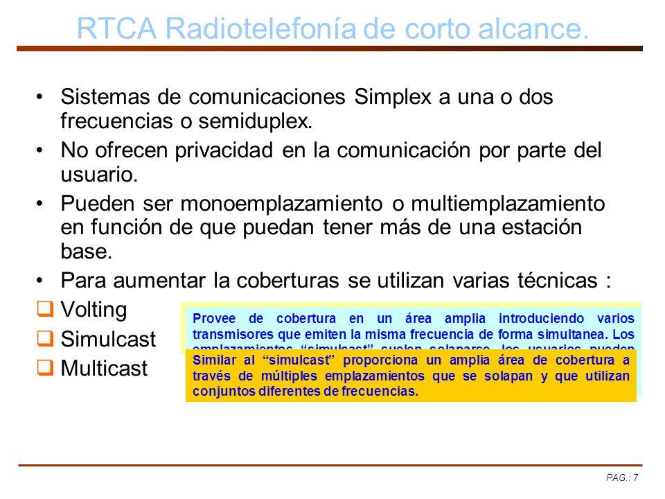 PAG.: 7 RTCA Radiotelefonía de corto alcance. Sistemas de comunicaciones Simplex a una o dos frecuencias o semiduplex. No ofrecen privacidad en la com