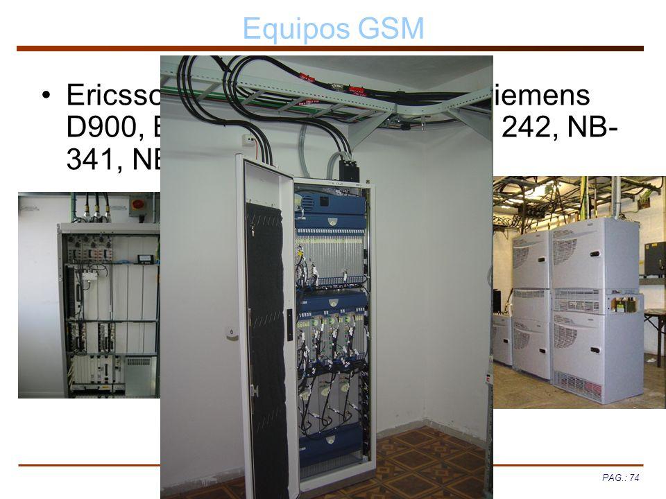 PAG.: 74 Equipos GSM Ericsson RBS 884, RBS 2000, Siemens D900, BS 40/41, BS240/241, BS 242, NB- 341, NB-440/441