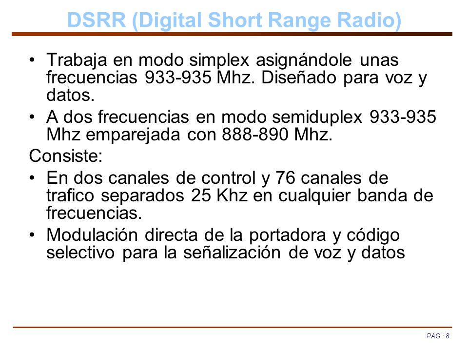PAG.: 8 DSRR (Digital Short Range Radio) Trabaja en modo simplex asignándole unas frecuencias 933-935 Mhz. Diseñado para voz y datos. A dos frecuencia