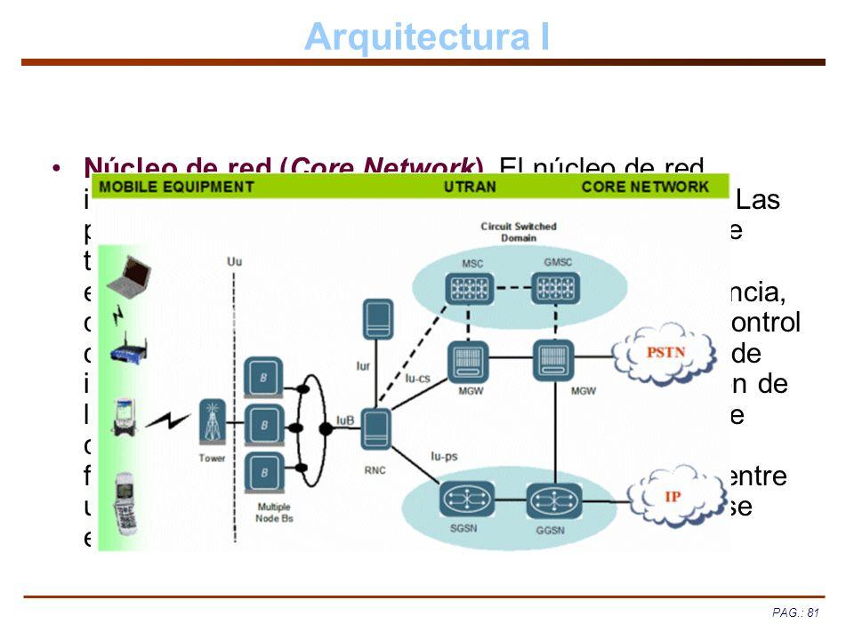 PAG.: 81 Arquitectura I Núcleo de red (Core Network). El núcleo de red incorpora funciones de transporte y de inteligencia. Las primeras soportan el t