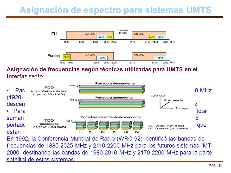 PAG.: 83 Asignación de espectro para sistemas UMTS Asignación de frecuencias según técnicas utilizadas para UMTS en el interfaz radio. Para la operaci