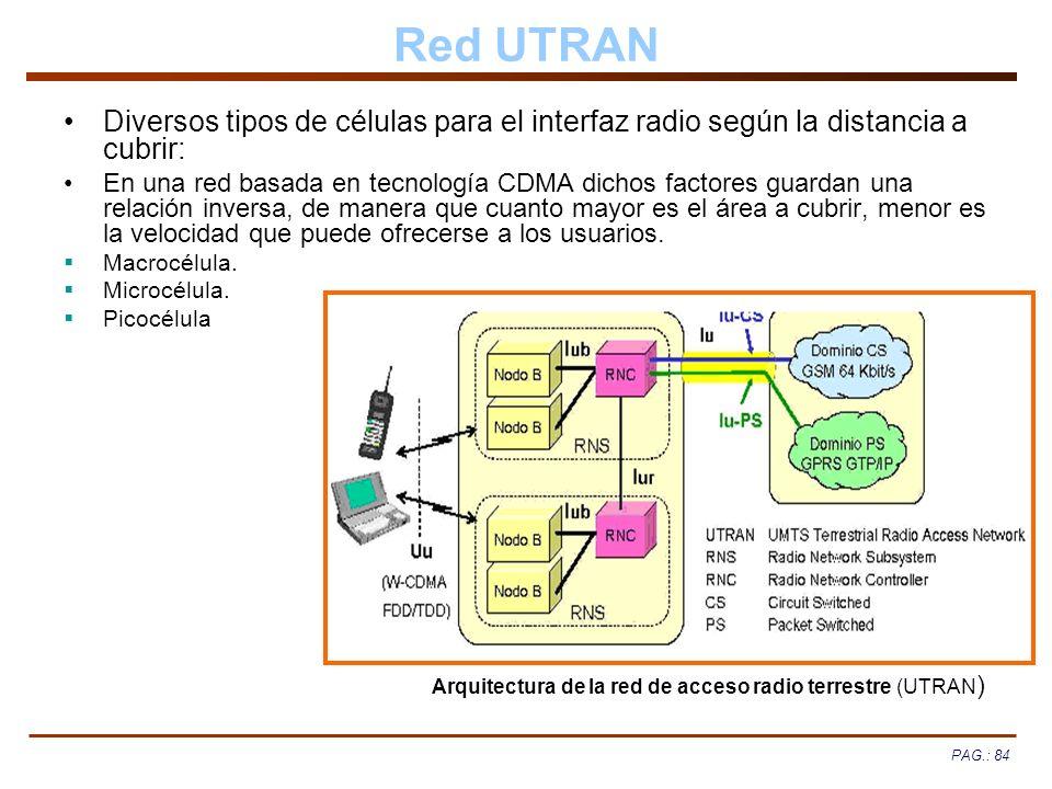 PAG.: 84 Red UTRAN Diversos tipos de células para el interfaz radio según la distancia a cubrir: En una red basada en tecnología CDMA dichos factores