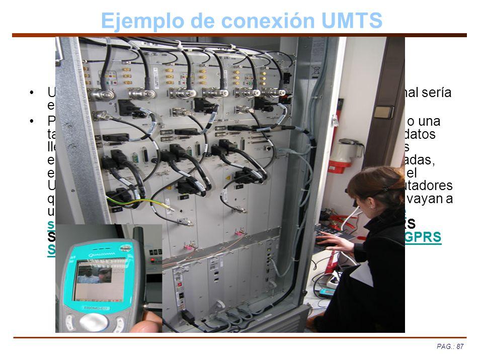 PAG.: 87 Ejemplo de conexión UMTS Un ejemplo de una conexión a la red UMTS desde un terminal sería el que se explica con el siguiente diagrama: Partim