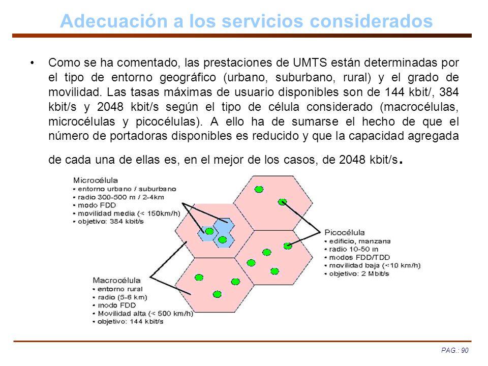 PAG.: 90 Adecuación a los servicios considerados Como se ha comentado, las prestaciones de UMTS están determinadas por el tipo de entorno geográfico (