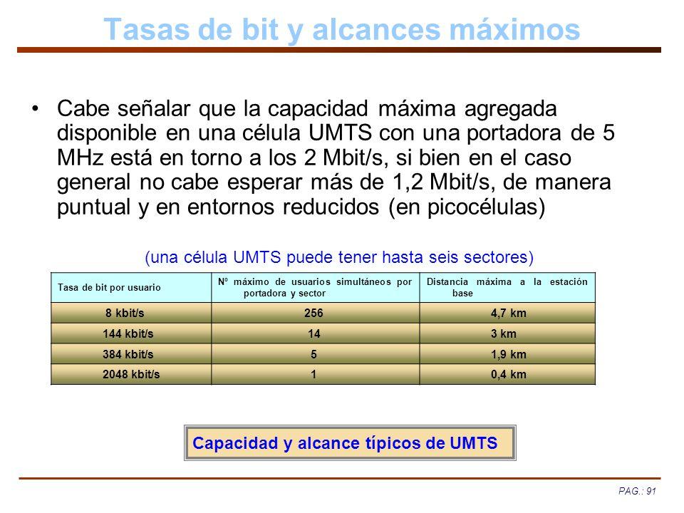 PAG.: 91 Tasas de bit y alcances máximos Cabe señalar que la capacidad máxima agregada disponible en una célula UMTS con una portadora de 5 MHz está e
