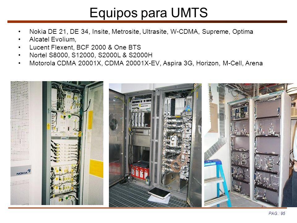 PAG.: 95 Equipos para UMTS Nokia DE 21, DE 34, Insite, Metrosite, Ultrasite, W-CDMA, Supreme, Optima Alcatel Evolium, Lucent Flexent, BCF 2000 & One B