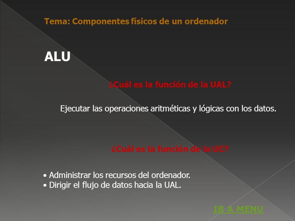 ¿Cuál es la función de la UAL? Ejecutar las operaciones aritméticas y lógicas con los datos. ¿Cuál es la función de la UC? Administrar los recursos de