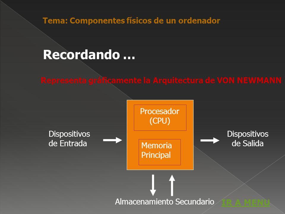 Representa gráficamente la Arquitectura de VON NEWMANN Dispositivos de Entrada Dispositivos de Salida Almacenamiento Secundario Procesador (CPU) Memor