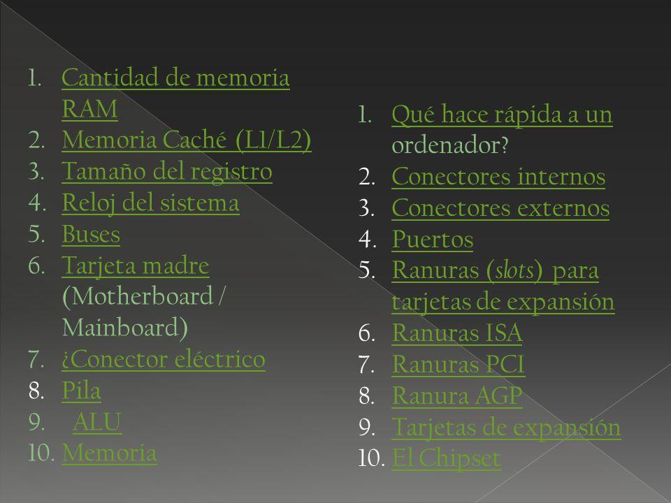 1.Cantidad de memoria RAMCantidad de memoria RAM 2.Memoria Caché (L1/L2)Memoria Caché (L1/L2) 3.Tamaño del registroTamaño del registro 4.Reloj del sis