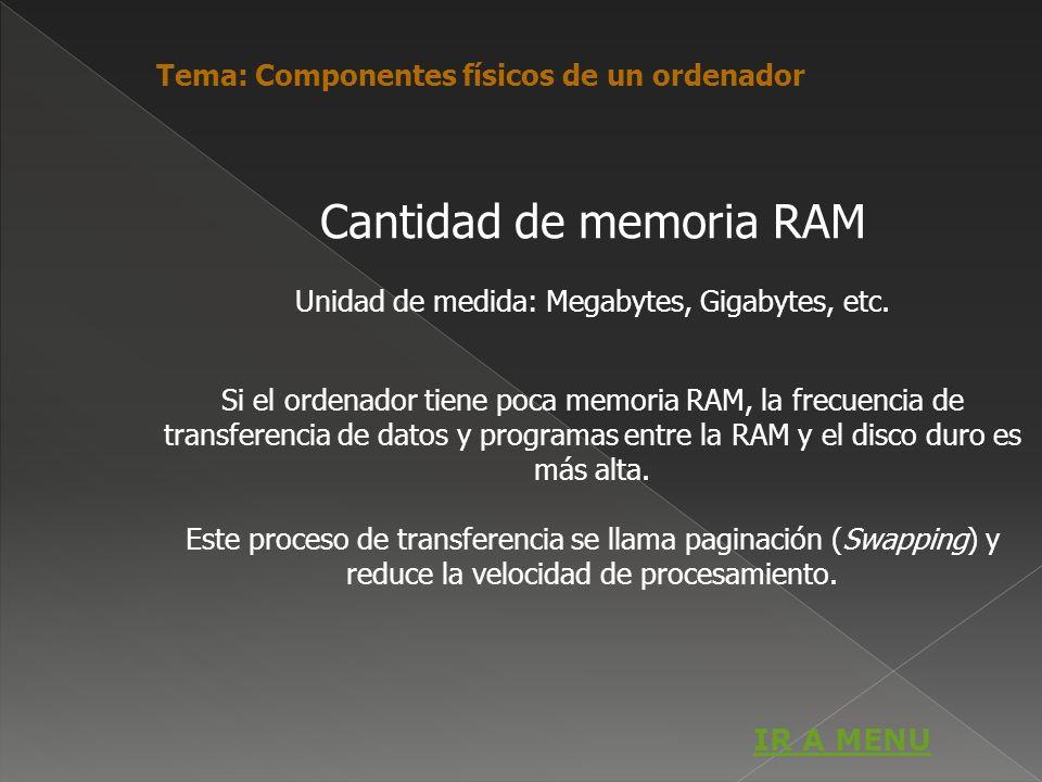 Cantidad de memoria RAM Unidad de medida: Megabytes, Gigabytes, etc. Si el ordenador tiene poca memoria RAM, la frecuencia de transferencia de datos y