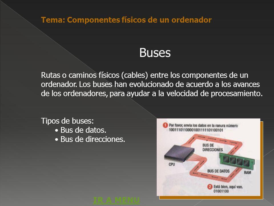 Rutas o caminos físicos (cables) entre los componentes de un ordenador. Los buses han evolucionado de acuerdo a los avances de los ordenadores, para a