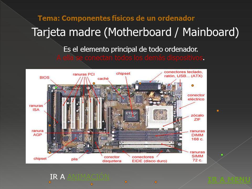 Es el elemento principal de todo ordenador. A ella se conectan todos los demás dispositivos. Tarjeta madre (Motherboard / Mainboard) Tema: Componentes