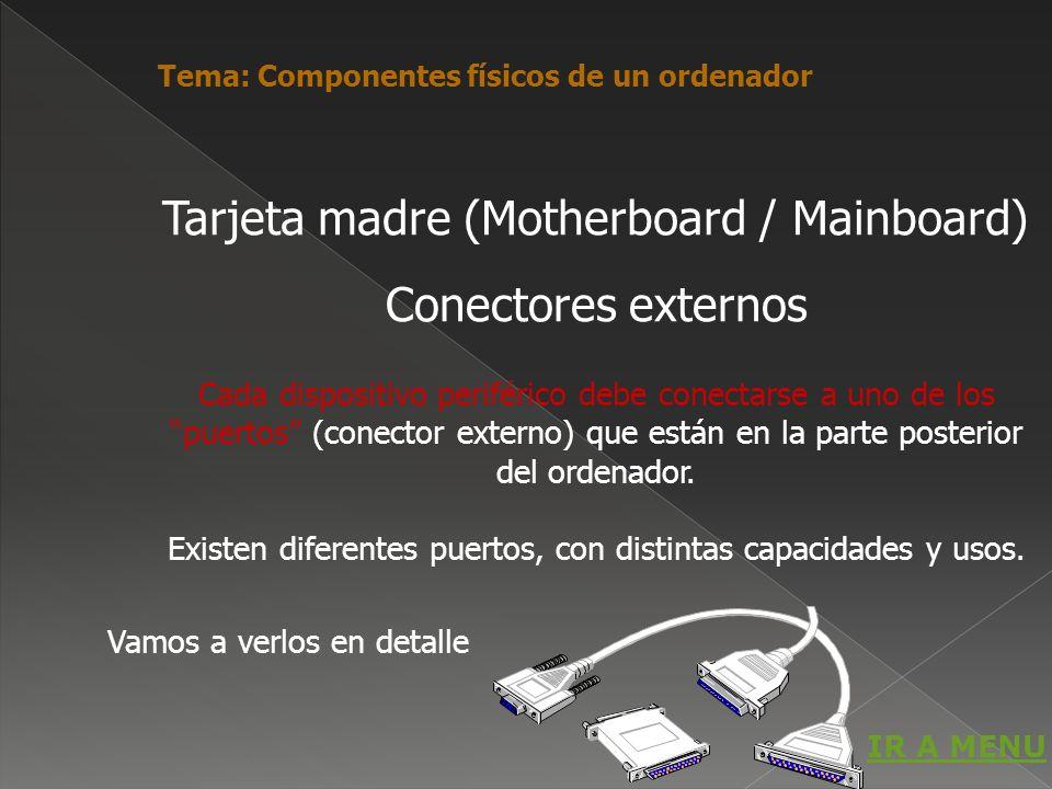 Cada dispositivo periférico debe conectarse a uno de los puertos (conector externo) que están en la parte posterior del ordenador. Existen diferentes