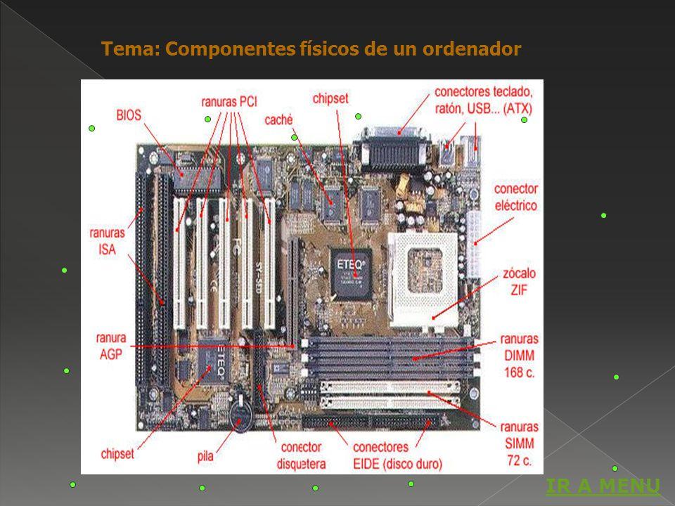 Tema: Componentes físicos de un ordenador IR A MENU