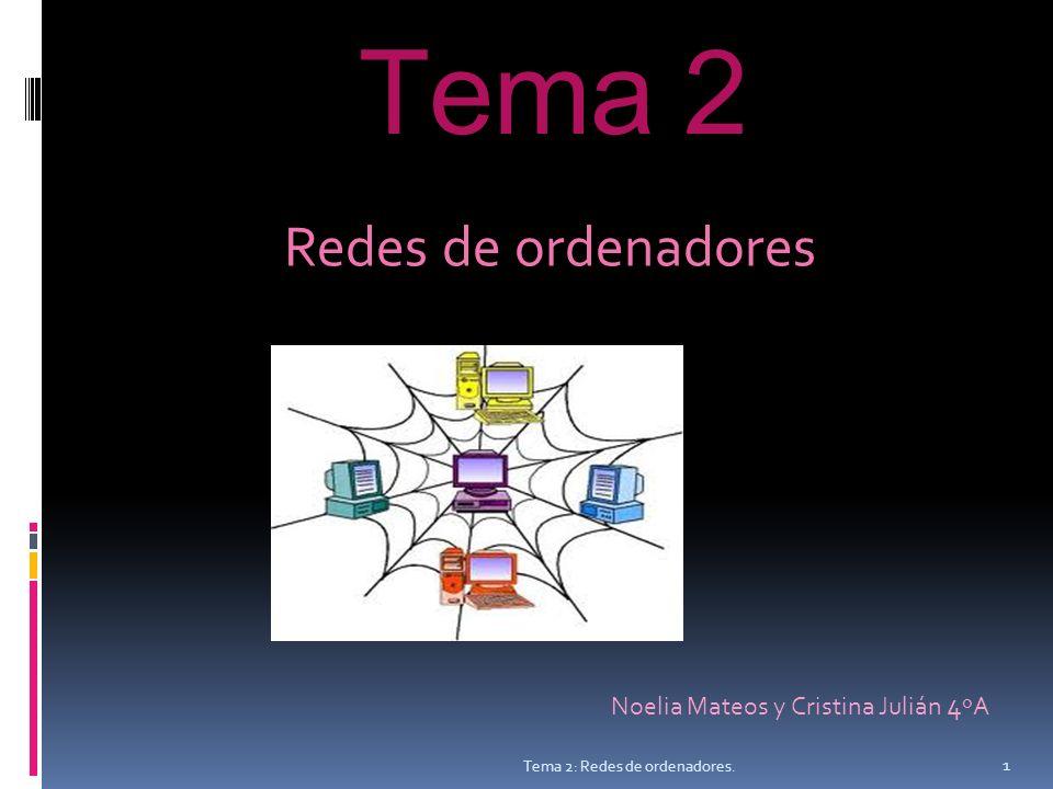 Tema 2 Redes de ordenadores Noelia Mateos y Cristina Julián 4 ºA 1 Tema 2: Redes de ordenadores.