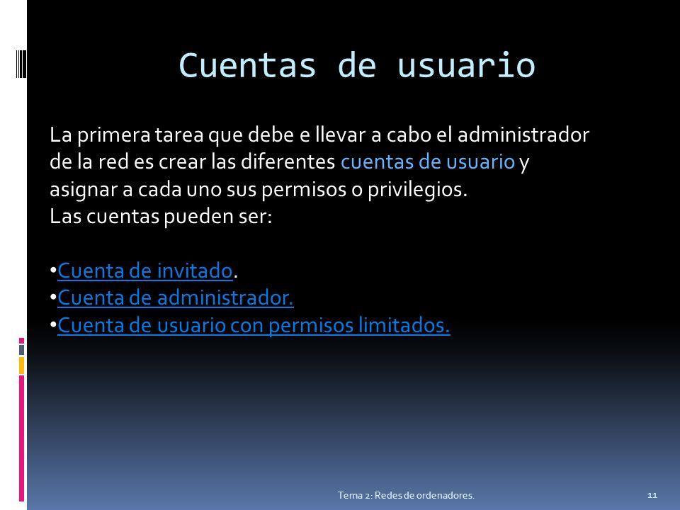 Cuentas de usuario Tema 2: Redes de ordenadores.