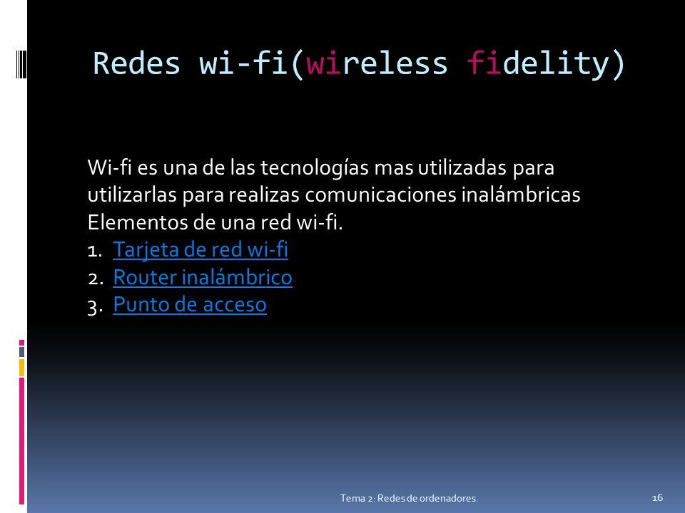 Redes wi-fi(wireless fidelity) Tema 2: Redes de ordenadores.