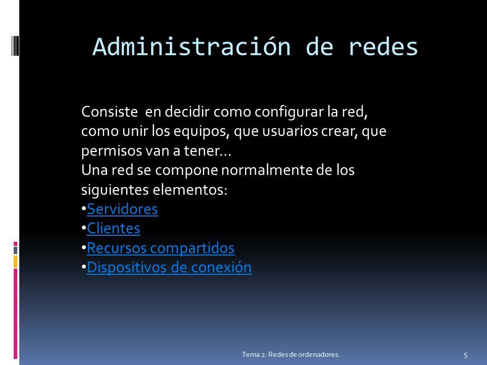 Administración de redes Tema 2: Redes de ordenadores.