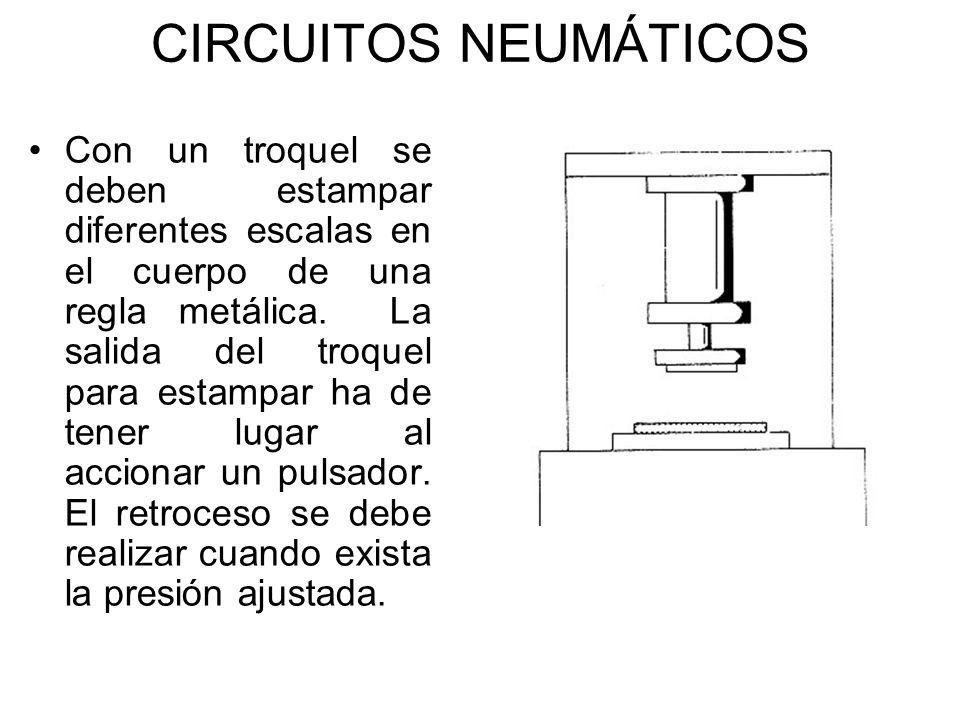 CIRCUITOS NEUMÁTICOS Con un troquel se deben estampar diferentes escalas en el cuerpo de una regla metálica. La salida del troquel para estampar ha de