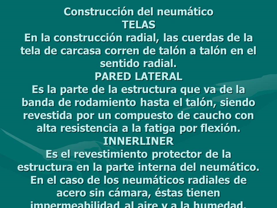 Construcción del neumático TELAS En la construcción radial, las cuerdas de la tela de carcasa corren de talón a talón en el sentido radial. PARED LATE