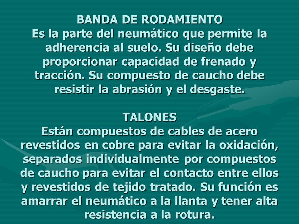 BANDA DE RODAMIENTO Es la parte del neumático que permite la adherencia al suelo. Su diseño debe proporcionar capacidad de frenado y tracción. Su comp