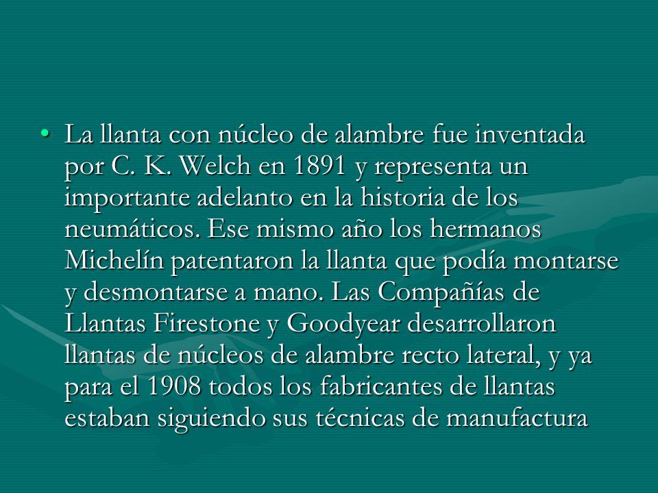 La llanta con núcleo de alambre fue inventada por C. K. Welch en 1891 y representa un importante adelanto en la historia de los neumáticos. Ese mismo