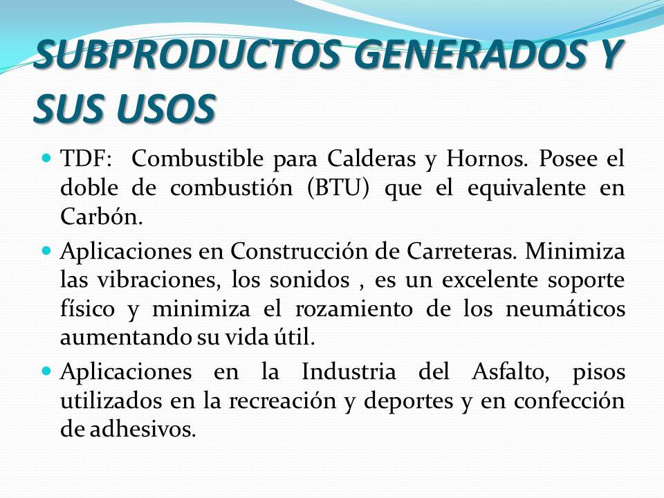 TDF: Combustible para Calderas y Hornos. Posee el doble de combustión (BTU) que el equivalente en Carbón. Aplicaciones en Construcción de Carreteras.