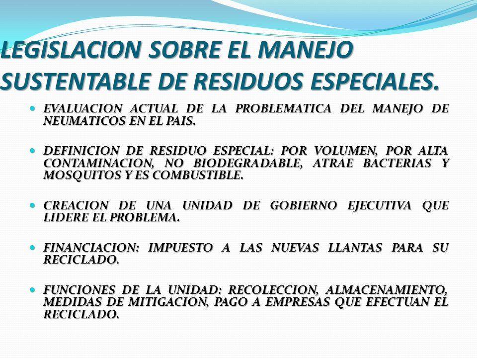 LEGISLACION SOBRE EL MANEJO SUSTENTABLE DE RESIDUOS ESPECIALES. EVALUACION ACTUAL DE LA PROBLEMATICA DEL MANEJO DE NEUMATICOS EN EL PAIS. EVALUACION A