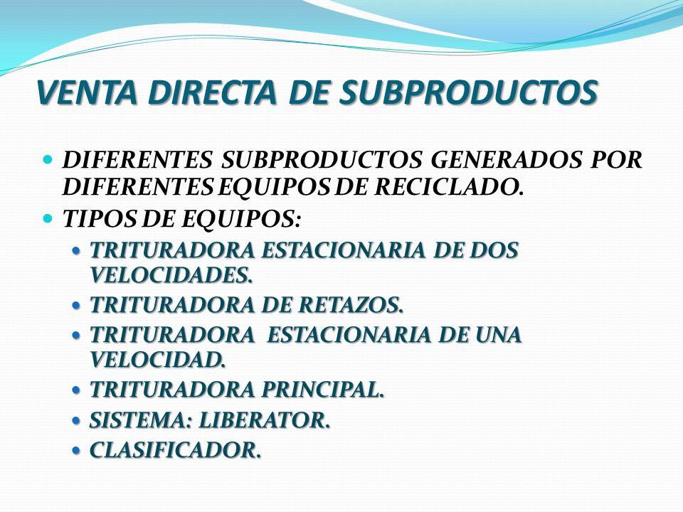 VENTA DIRECTA DE SUBPRODUCTOS DIFERENTES SUBPRODUCTOS GENERADOS POR DIFERENTES EQUIPOS DE RECICLADO. TIPOS DE EQUIPOS: TRITURADORA ESTACIONARIA DE DOS