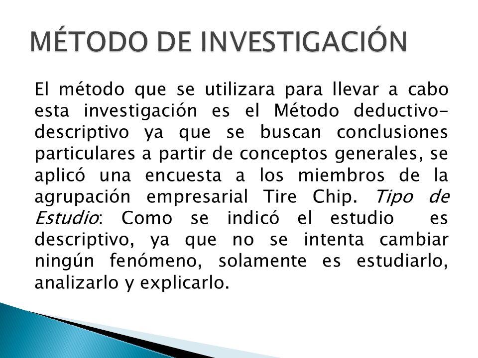 El método que se utilizara para llevar a cabo esta investigación es el Método deductivo- descriptivo ya que se buscan conclusiones particulares a part
