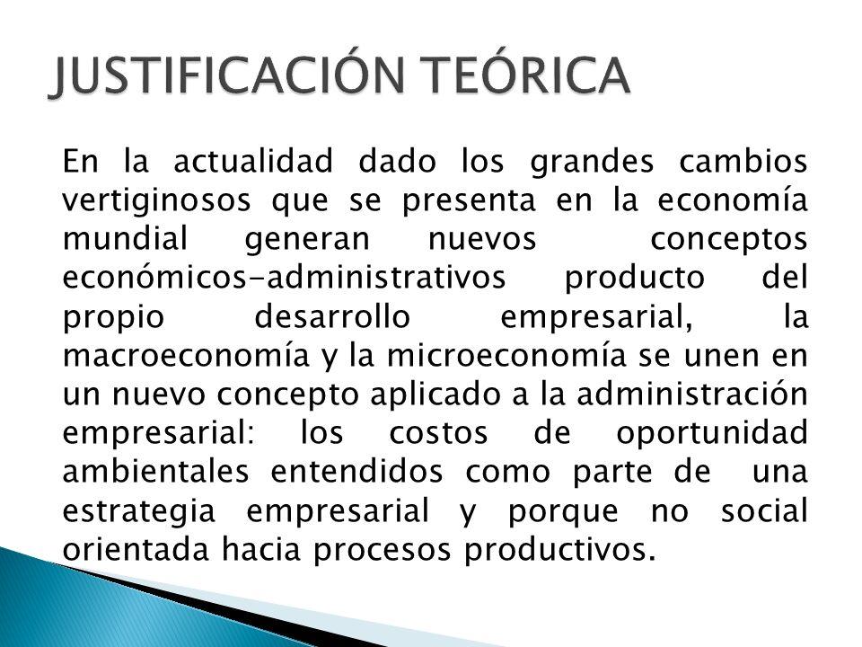 En la actualidad dado los grandes cambios vertiginosos que se presenta en la economía mundial generan nuevos conceptos económicos-administrativos prod