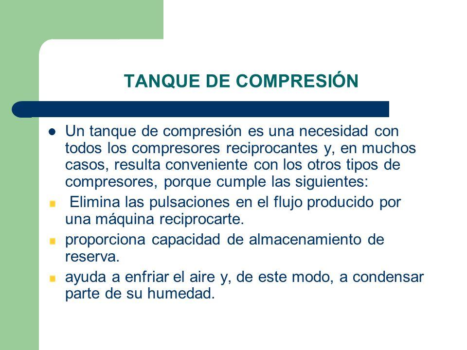 TANQUE DE COMPRESIÓN Un tanque de compresión es una necesidad con todos los compresores reciprocantes y, en muchos casos, resulta conveniente con los