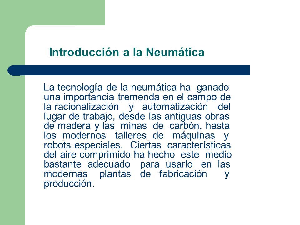 Introducción a la Neumática La tecnología de la neumática ha ganado una importancia tremenda en el campo de la racionalización y automatización del lu