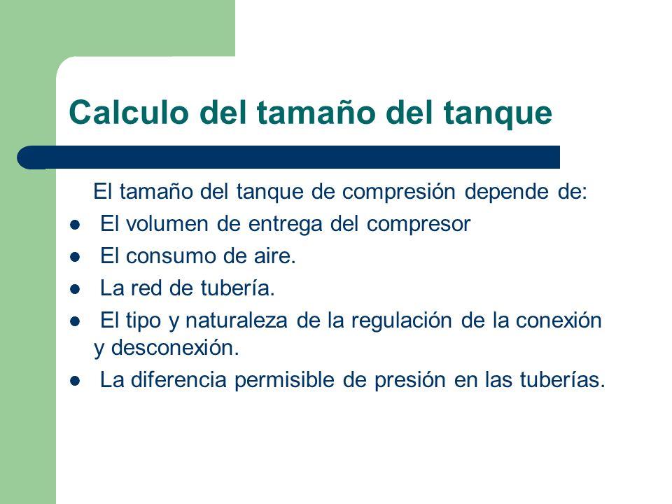 Calculo del tamaño del tanque El tamaño del tanque de compresión depende de: El volumen de entrega del compresor El consumo de aire. La red de tubería