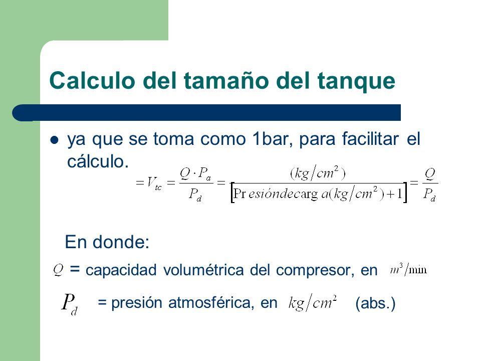 Calculo del tamaño del tanque ya que se toma como 1bar, para facilitar el cálculo. En donde: = capacidad volumétrica del compresor, en = presión atmos