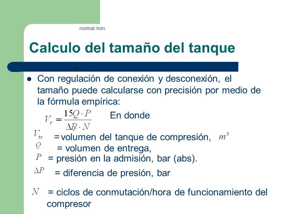 Calculo del tamaño del tanque Con regulación de conexión y desconexión, el tamaño puede calcularse con precisión por medio de la fórmula empírica: En