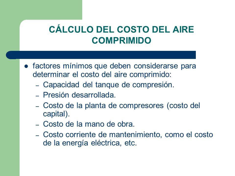 CÁLCULO DEL COSTO DEL AIRE COMPRIMIDO factores mínimos que deben considerarse para determinar el costo del aire comprimido: – Capacidad del tanque de