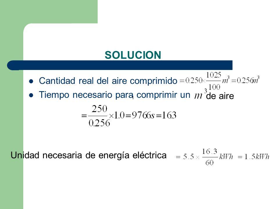 SOLUCION Cantidad real del aire comprimido Tiempo necesario para comprimir un 1 de aire Unidad necesaria de energía eléctrica