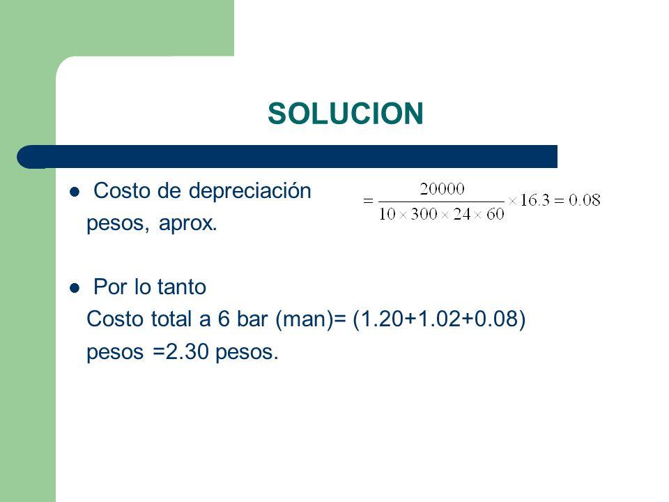 SOLUCION Costo de depreciación pesos, aprox. Por lo tanto Costo total a 6 bar (man)= (1.20+1.02+0.08) pesos =2.30 pesos.