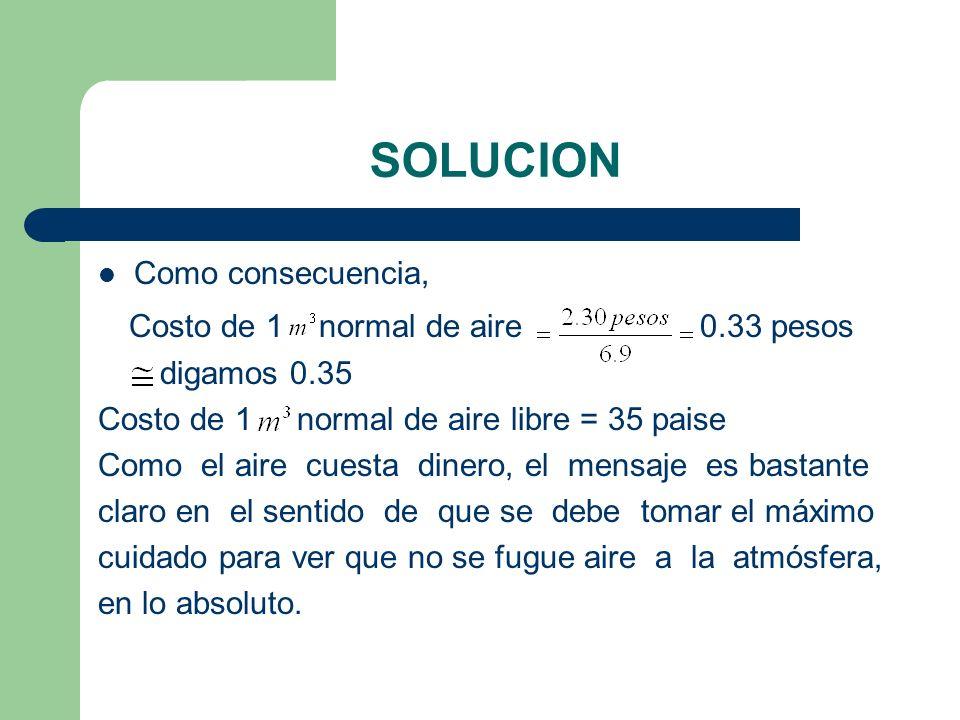 SOLUCION Como consecuencia, Costo de 1 normal de aire 0.33 pesos digamos 0.35 Costo de 1 normal de aire libre = 35 paise Como el aire cuesta dinero, e