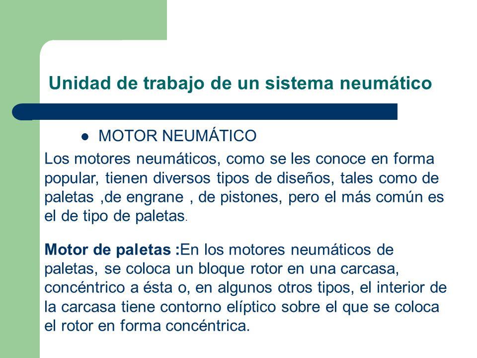 Unidad de trabajo de un sistema neumático MOTOR NEUMÁTICO Los motores neumáticos, como se les conoce en forma popular, tienen diversos tipos de diseño