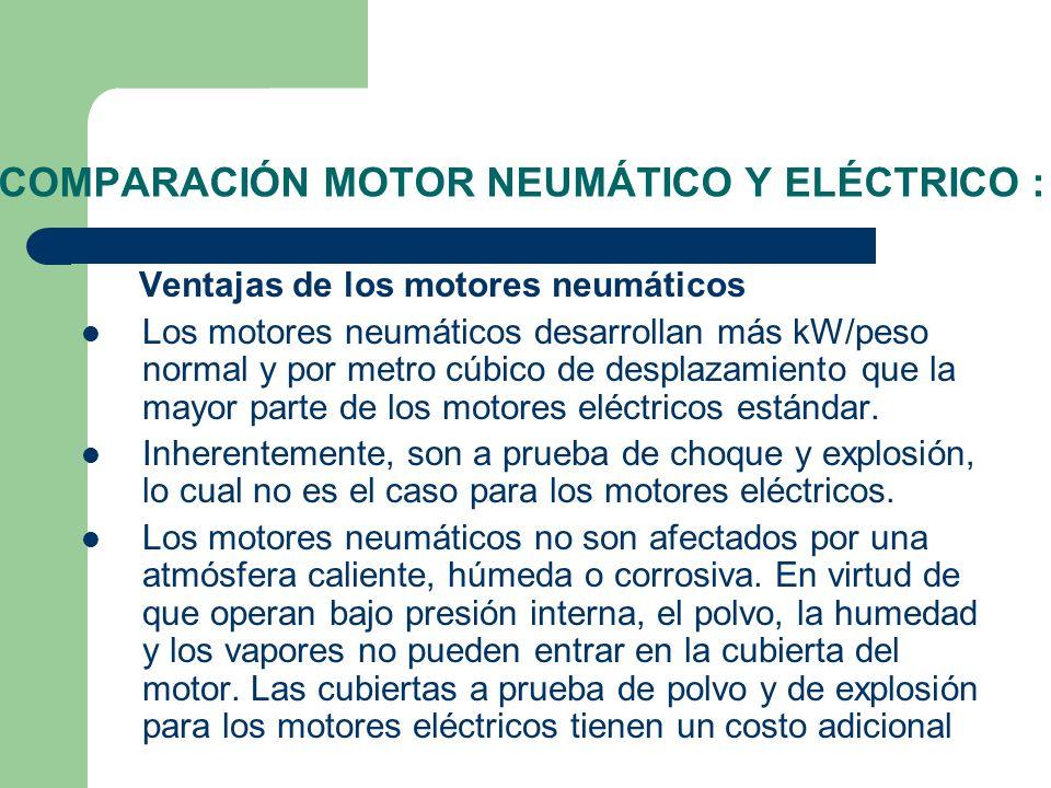 COMPARACIÓN MOTOR NEUMÁTICO Y ELÉCTRICO : Ventajas de los motores neumáticos Los motores neumáticos desarrollan más kW/peso normal y por metro cúbico