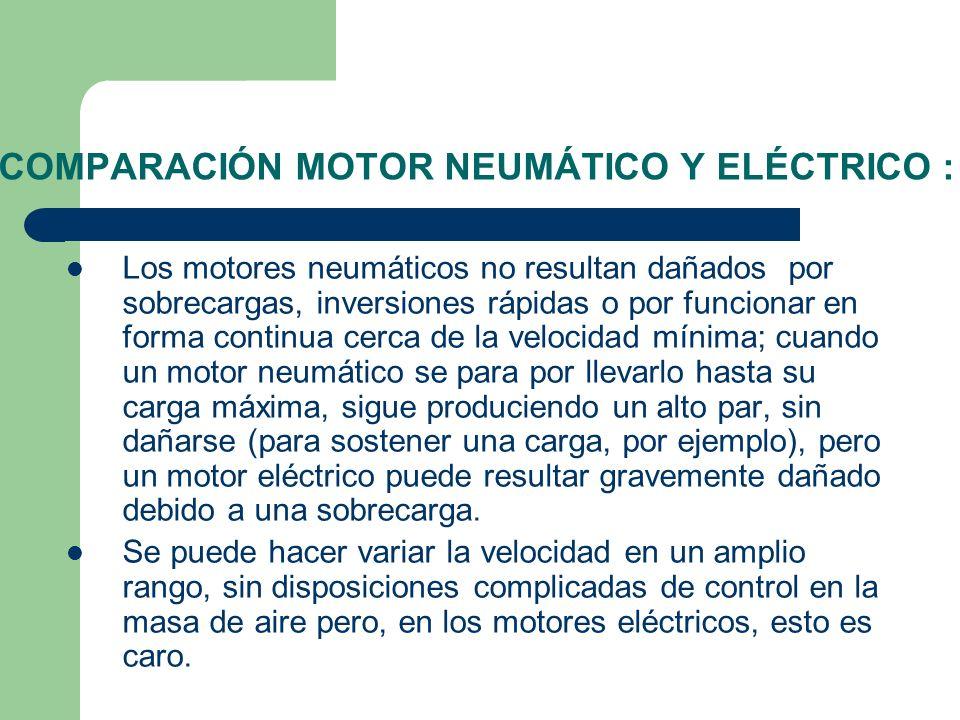 COMPARACIÓN MOTOR NEUMÁTICO Y ELÉCTRICO : Los motores neumáticos no resultan dañados por sobrecargas, inversiones rápidas o por funcionar en forma con