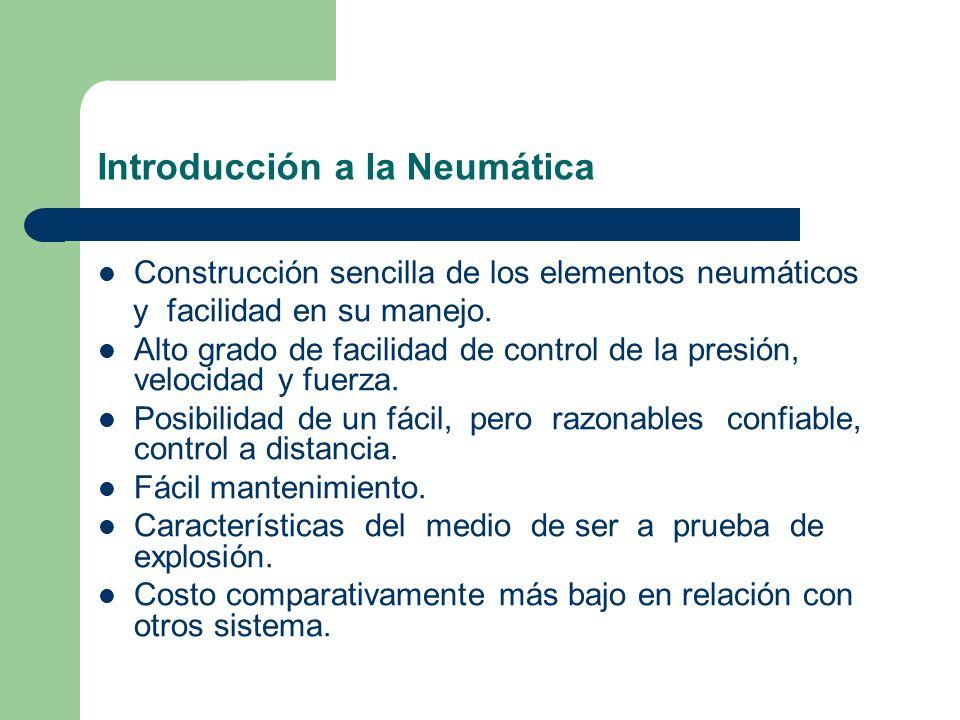 Introducción a la Neumática Construcción sencilla de los elementos neumáticos y facilidad en su manejo. Alto grado de facilidad de control de la presi