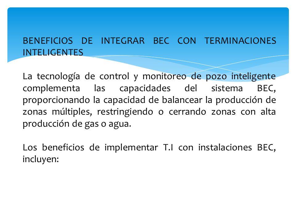 BENEFICIOS DE INTEGRAR BEC CON TERMINACIONES INTELIGENTES La tecnología de control y monitoreo de pozo inteligente complementa las capacidades del sis
