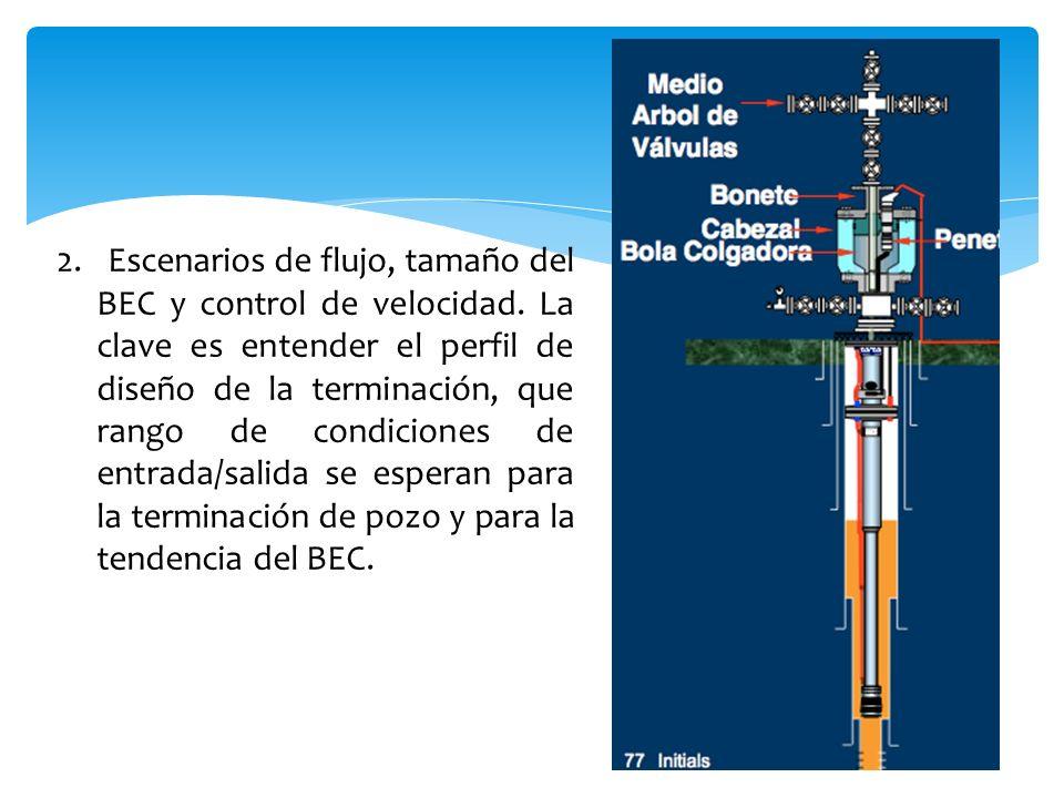 2. Escenarios de flujo, tamaño del BEC y control de velocidad. La clave es entender el perfil de diseño de la terminación, que rango de condiciones de